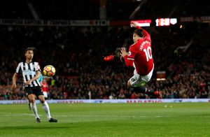 Zlatan Ibrahimovic shoots at goal.