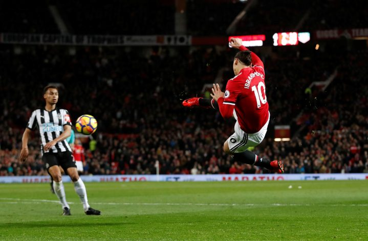 Zlatan Ibrahimovic shoots at goal.
