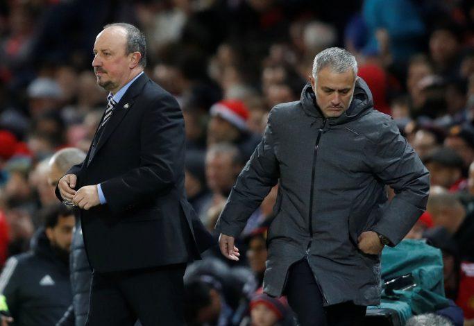 Manchester United manager Jose Mourinho and Newcastle United manager Rafael Benitez.