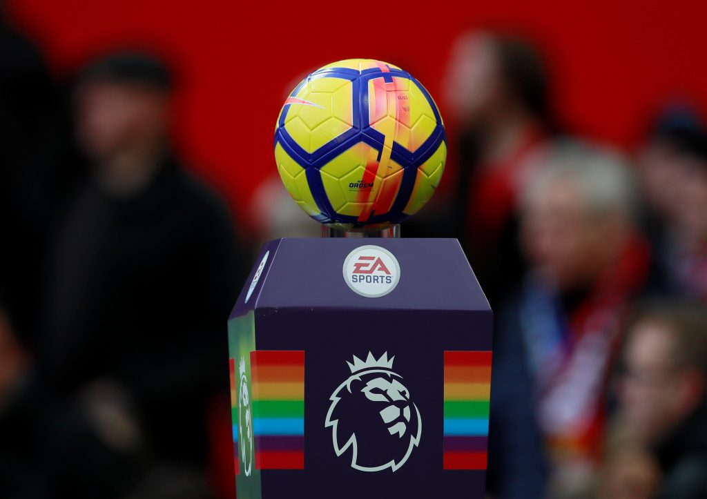 General view of the Premier League match ball on a plinth.
