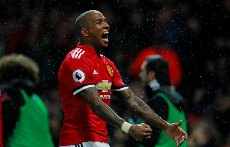 Manchester United's Ashley Young celebrates scoring their first goal.