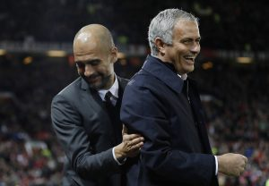 Jose Mourinho and Pep Guardiola before the match.