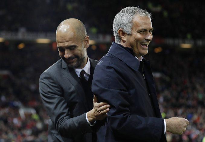 Jose Mourinho and Pep Guardiola before the match.