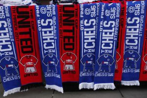 Scarves on sale outside the stadium before the match.