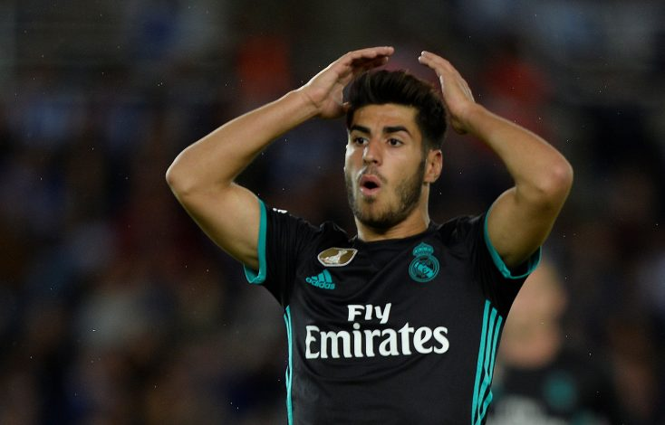 Real Madrid's Marco Asensio reacts.