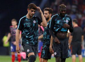 Chelsea's Alvaro Morata and Tiemoue Bakayoko warms up before the match.