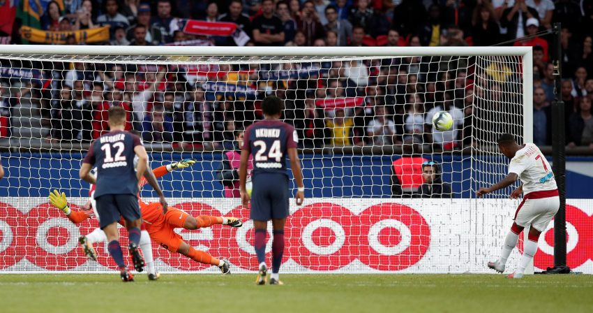 Bordeaux's Malcom scores their second goal from the penalty spot.