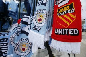 Scarves for sale outside the stadium before the match.
