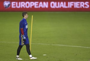 Spain's goalkeeper Kepa Arrizabalaga attends training session.