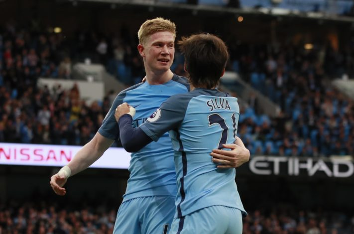 Man City's Kevin De Bruyne celebrates scoring their second goal with David Silva.