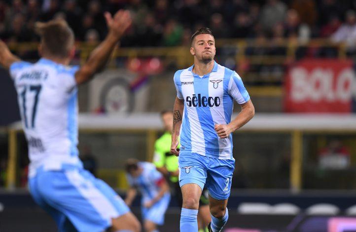 Lazio's Sergej Milinkovic-Savic celebrates scoring their first goal.