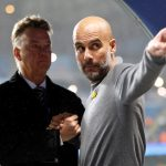 Louis van Gaal and Pep Guardiola inside the stadium before the match.