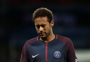 Paris Saint-Germain's Neymar reacts.