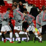 Paul Pogba and team mates during the warm up before the match.