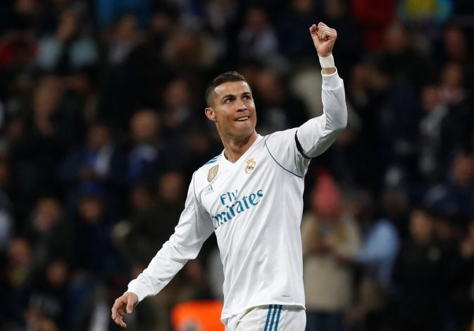 Real Madrid's Cristiano Ronaldo celebrates scoring their second goal.