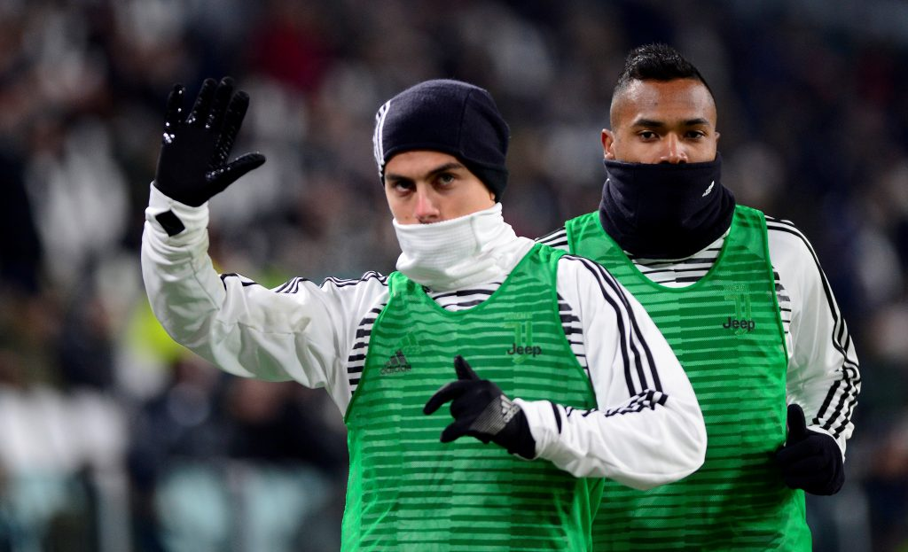 Juventus' Paulo Dybala warms up during the game.