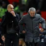 Pep Guardiola and Jose Mourinho at the end of the match.