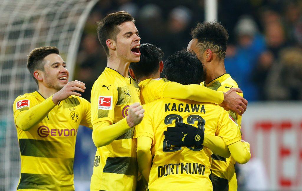 Borussia Dortmund's Shinji Kagawa celebrates scoring their second goal with Pierre-Emerick Aubameyang.