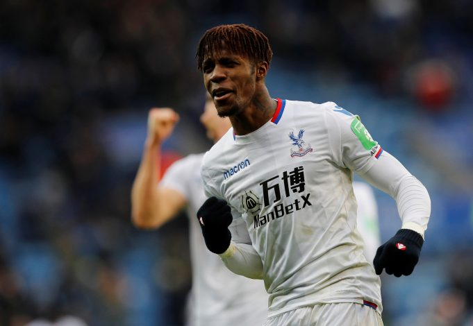 Crystal Palace's Wilfried Zaha celebrates.