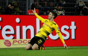 Borussia Dortmund's Christian Pulisic celebrates scoring their second goal.
