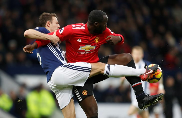 West Bromwich Albion's Jonny Evans in action with Manchester United's Romelu Lukaku.