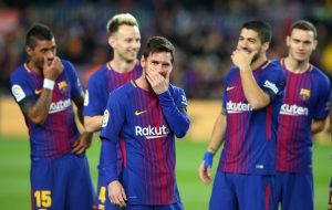 Barcelona's Lionel Messi and team mates before the match.