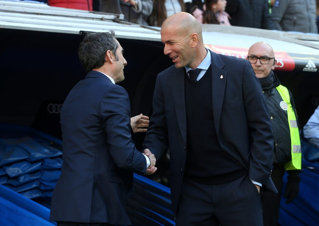 Barcelona coach Ernesto Valverde and Real Madrid coach Zinedine Zidane.
