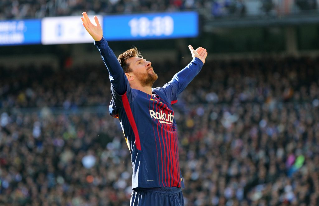 Barcelona's Lionel Messi celebrates scoring their second goal.