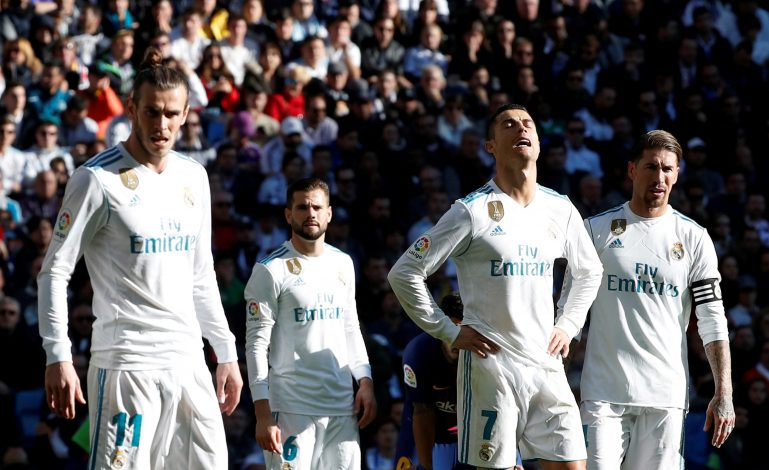 Real Madrid's Gareth Bale, Cristiano Ronaldo and Sergio Ramos react.
