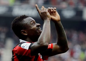 Nice's Jean Michel Seri celebrates after scoring against Nancy.