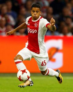 Ajax's Justin Kluivert in action.