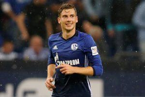 Schalke's Leon Goretzka celebrates scoring their first goal.