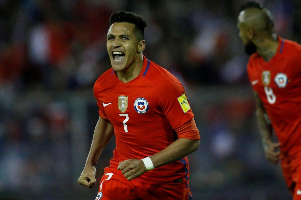 Football Soccer – 2018 World Cup Qualifiers - Chile v Ecuador - Estadio Monumental David Arellano, Santiago, Chile – October 5, 2017 Chile's Alexis Sanchez reacts after scoring a goal. REUTERS/Carlos Vera - RC18AE035640