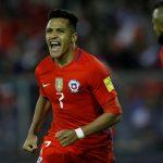 Chile's Alexis Sanchez reacts after scoring a goal.
