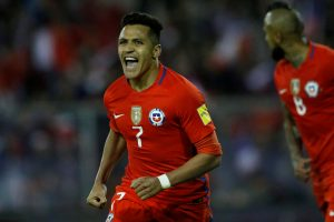 Chile's Alexis Sanchez reacts after scoring a goal.