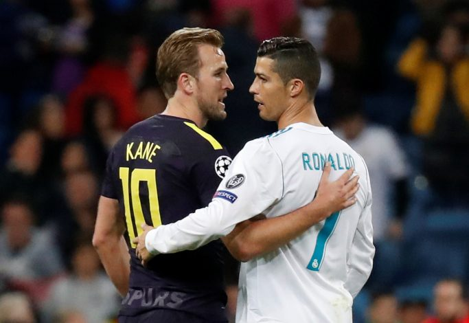 Real Madrid's Cristiano Ronaldo with Tottenham's Harry Kane after the match.