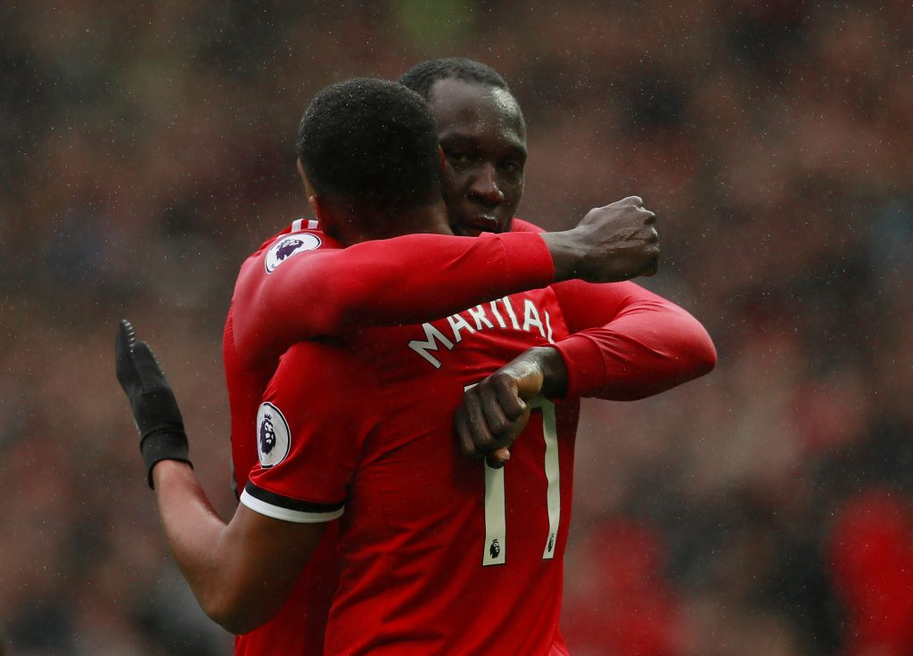 Anthony Martial celebrates scoring with Romelu Lukaku.
