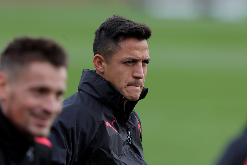Alexis Sanchez during training.