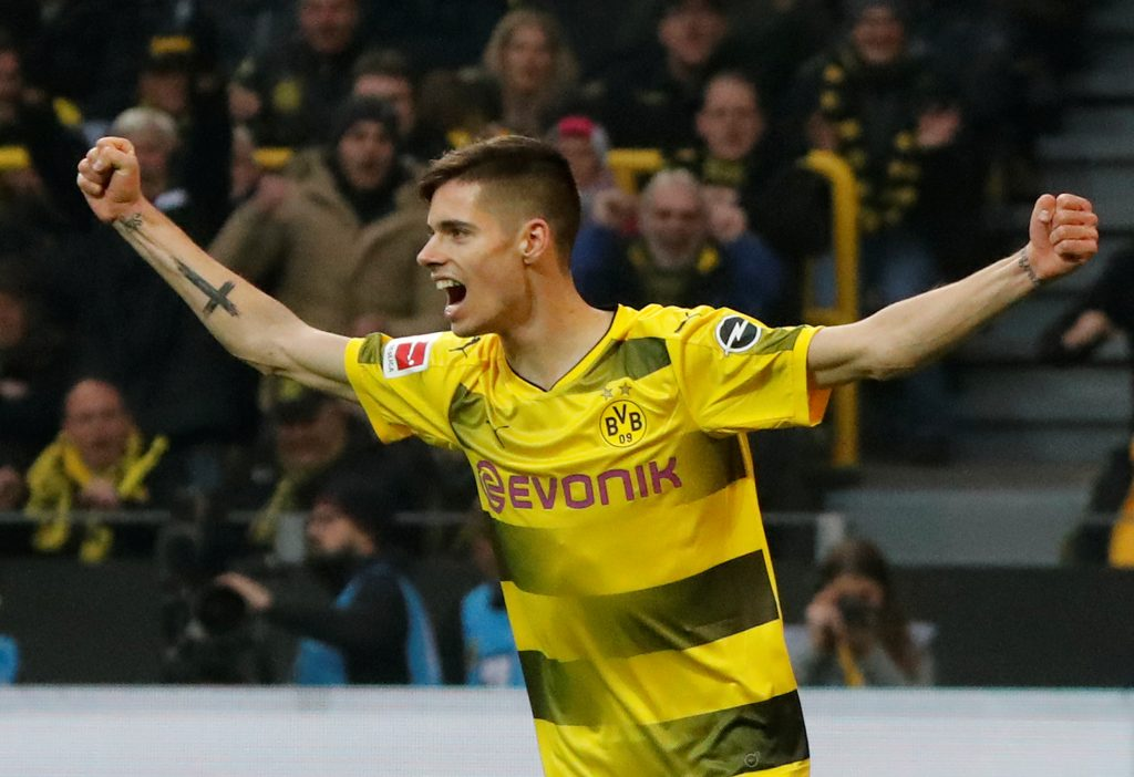 Soccer Football - Bundesliga - Borussia Dortmund vs Schalke 04 - Signal Iduna Park, Dortmund, Germany - November 25, 2017   Borussia Dortmund's Julian Weigl celebrates their second goal    REUTERS/Wolfgang Rattay    DFL RULES TO LIMIT THE ONLINE USAGE DURING MATCH TIME TO 15 PICTURES PER GAME. IMAGE SEQUENCES TO SIMULATE VIDEO IS NOT ALLOWED AT ANY TIME. FOR FURTHER QUERIES PLEASE CONTACT DFL DIRECTLY AT + 49 69 650050 - RC1EEF89F710
