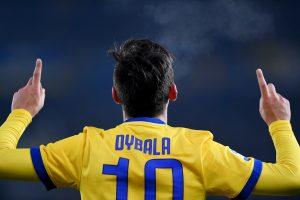 Juventus' Paulo Dybala celebrates scoring their third goal.