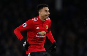 Manchester United's Jesse Lingard celebrates scoring their second goal.