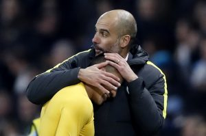 Pep Guardiola and Alexis Sanchez at the end of the match.