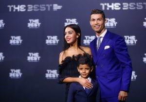 Cristiano Ronaldo, his son Cristiano Ronaldo Jr and Georgina Rodriguez arrive at the ceremony.