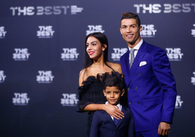 Cristiano Ronaldo, his son Cristiano Ronaldo Jr and Georgina Rodriguez arrive at the ceremony.