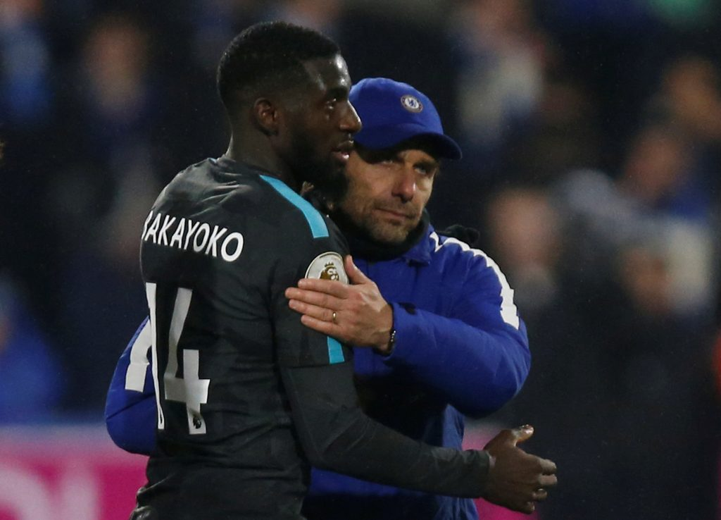 Chelsea's Tiemoue Bakayoko and Antonio Conte celebrate after the match.