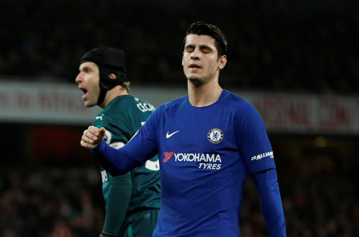 Chelsea's Alvaro Morata reacts after a missed chance as Arsenal's Petr Cech looks on.