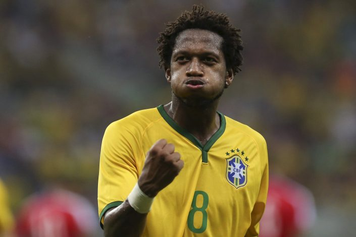 Fred of Brazil's Under-23 team celebrates.