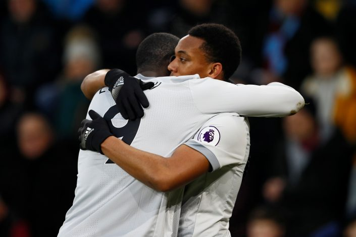 Manchester United's Anthony Martial celebrates scoring their first goal with Romelu Lukaku.