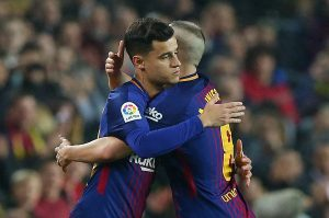Barcelona's Philippe Coutinho comes on as a substitute to replace Andres Iniesta.