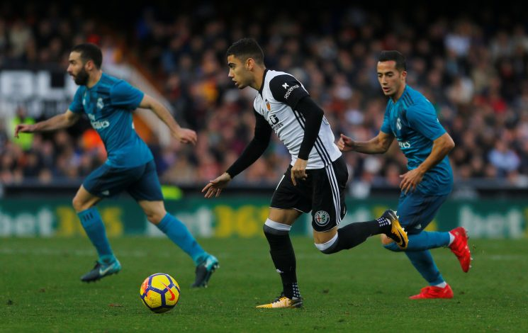 Valencia's Andreas Pereira in action.